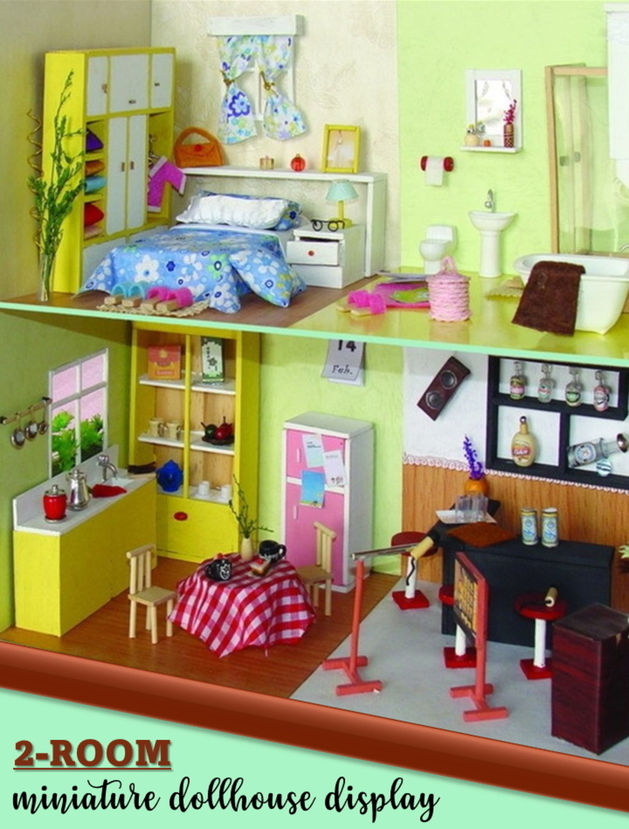 A two-room miniature house with simple furniture and furnishings. A beginner miniatures crafter can start off with a projects as simple as a 1 or 2 room space to gain the required skills.