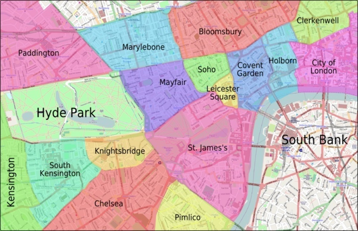 The areas of central London. St. James's broadly covers the Manor of Eia/Ebury.