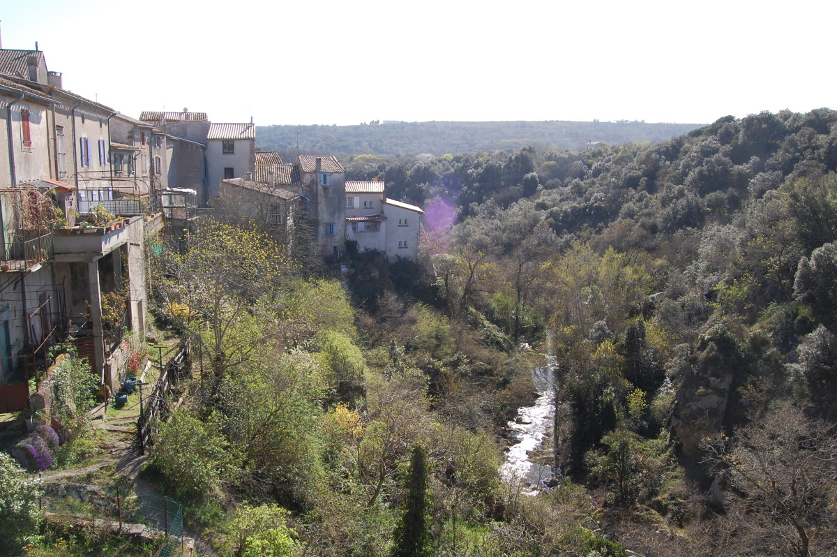 Montolieu -view from the bridge towards Carcassonne
