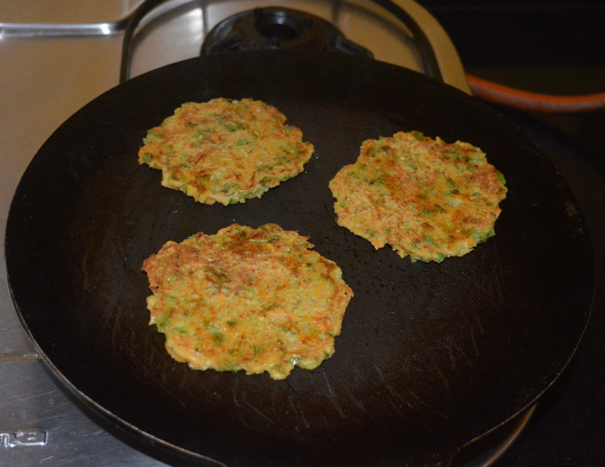 Add a few drops of oil to the top. When both the sides become golden brown, remove them on a serving plate.