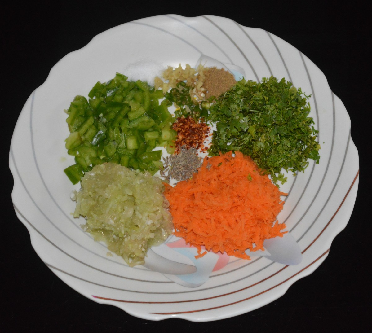 Chopped veggies and spices
