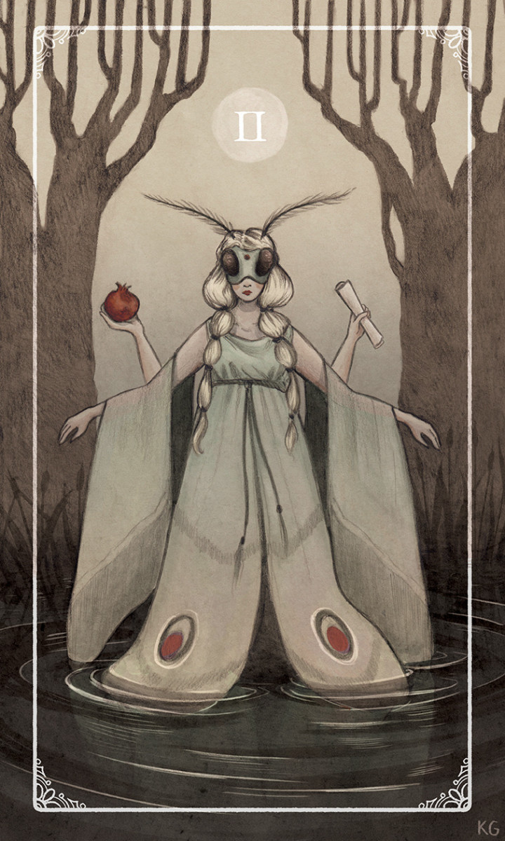 The High Priestess is the second trump card of the Major Arcana. She represents femininity, the subconscious, the connection between mortals and the divine, and secrets.