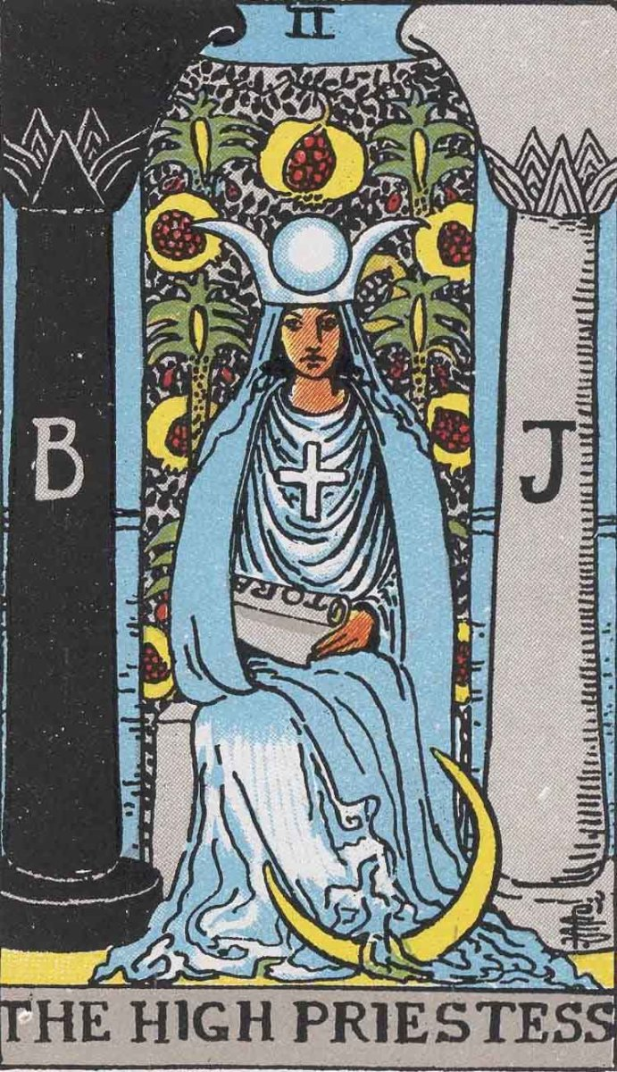 The High Priestess card can appear different among decks. Her card generally has allusions to the moon, the colors blue and white, a diadem, a scroll, and images of pomegranates.