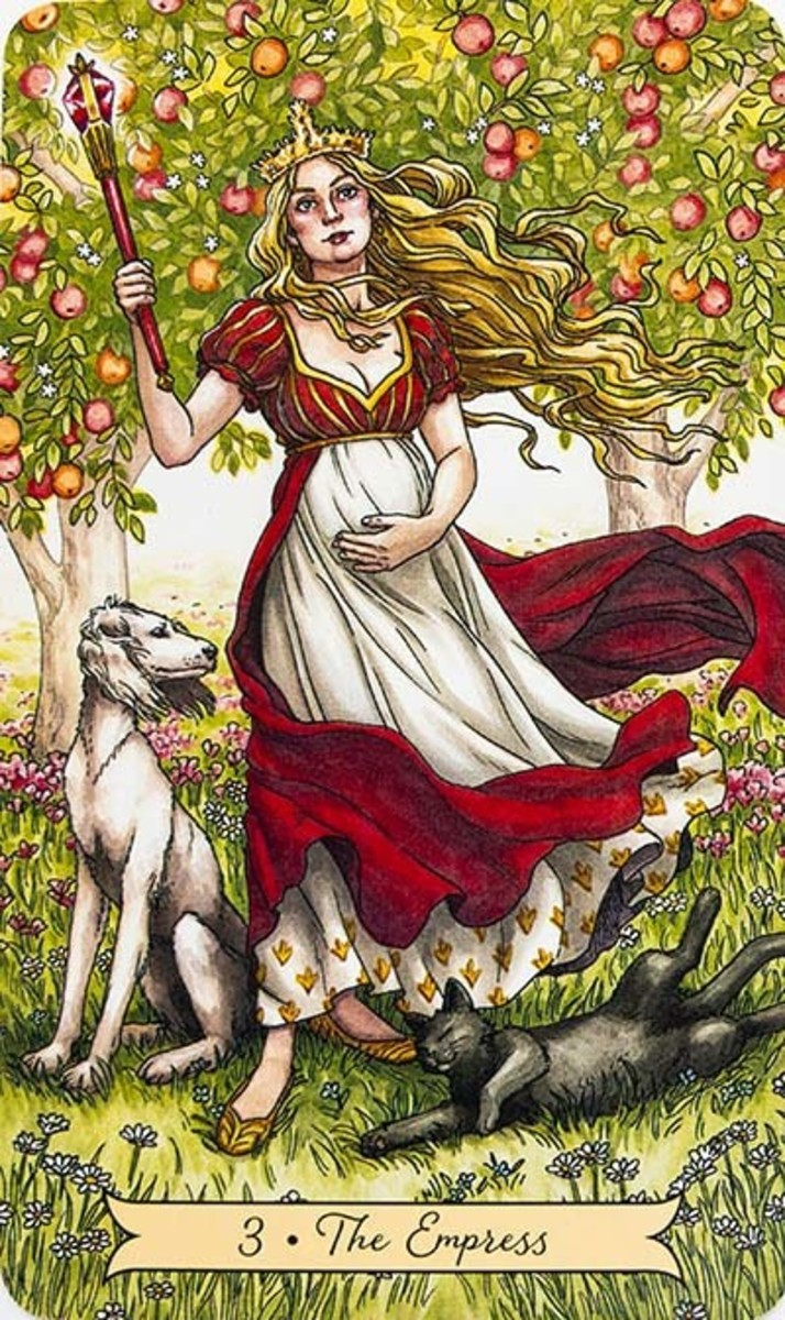 The Empress is often represented with the color red. Red signifies maturity, womanhood, and an age appropriate for pregnancy.