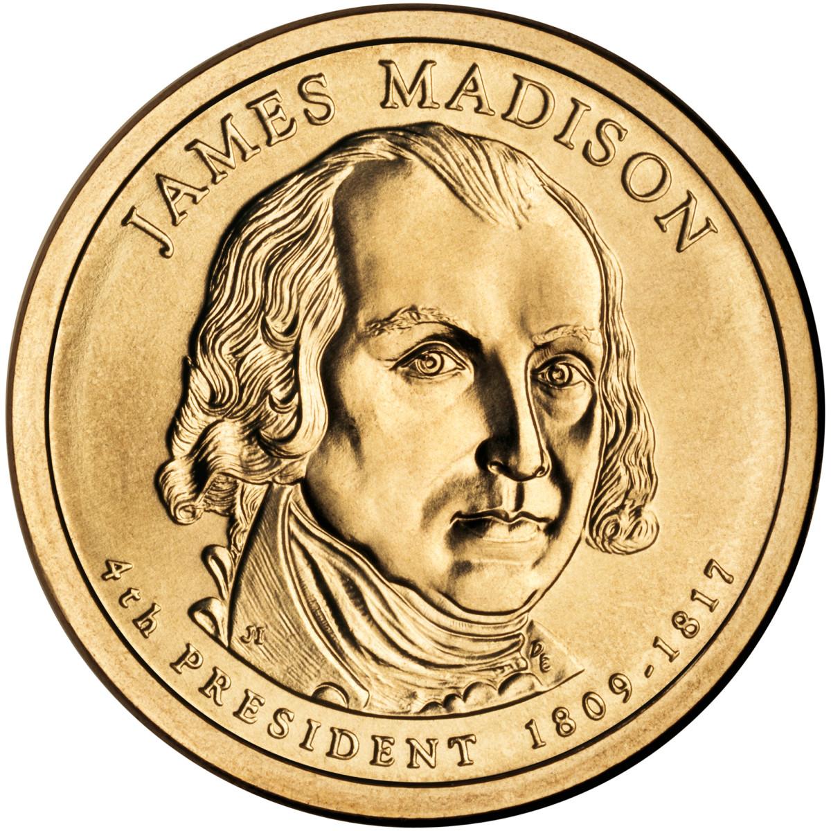 2007 James Madison U.S. presidential dollar coin.