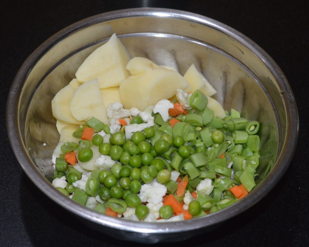 Step one: Cook the veggies in a pressure cooker as per instructions. Turn off the heat.