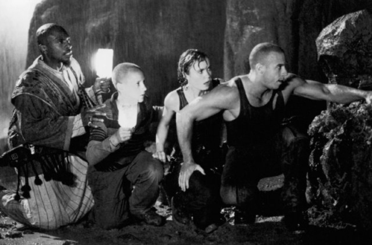 L-R: Keith David ( Imam), Rhiahna Griffith ( Jack ), Radha Mitchell ( Fry ), Vin Diesel  ( as James Tiberius ... )  ... just checking 2 C if U R looking...