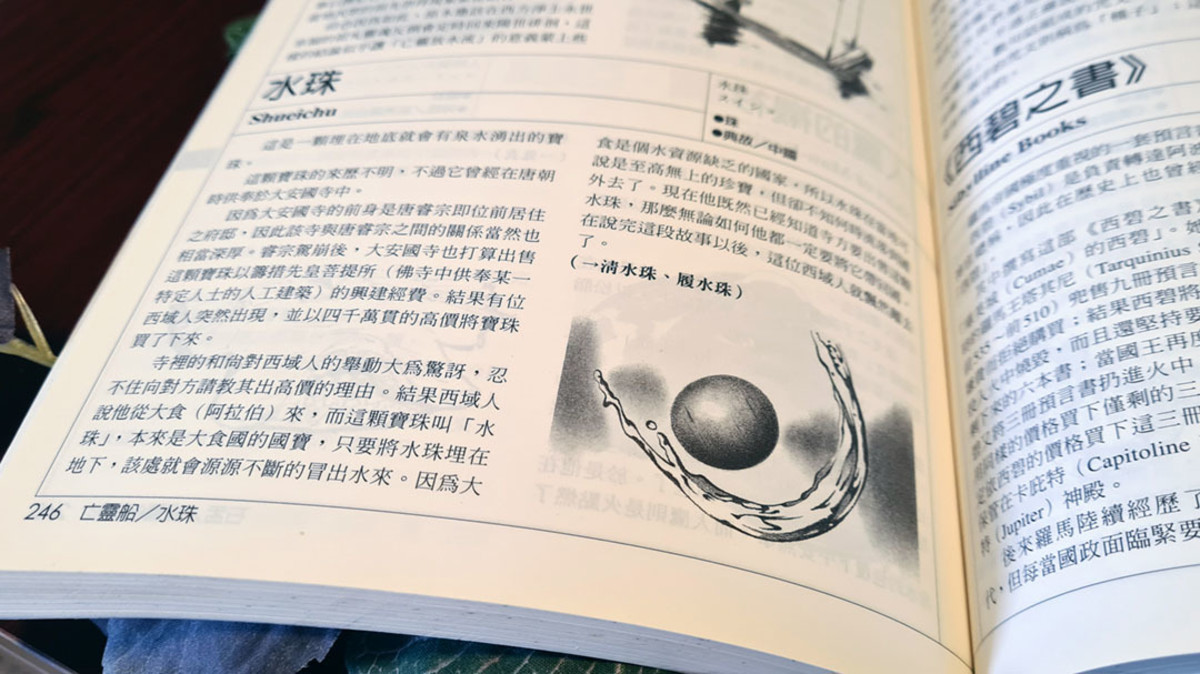 The character 珠 can also be easily paired with other Chinese magical terms or characters. Here, it follows the character for water (Shuǐ), thus denoting a magical water pearl.