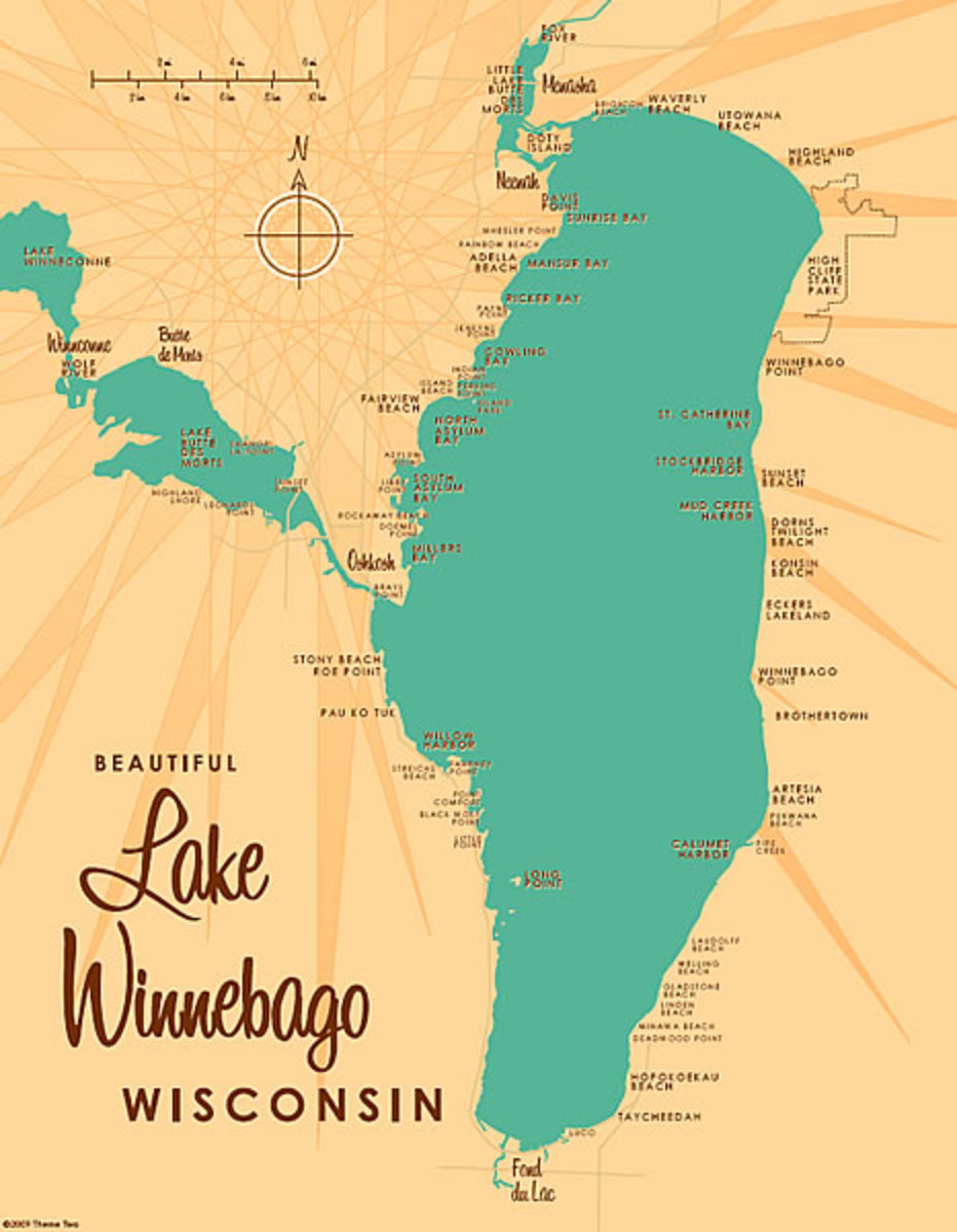 Lake Winnebago map with bright colors and artful designs