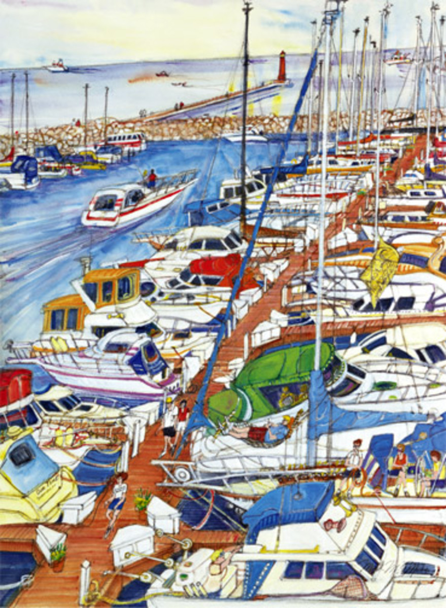 beautiful artwork of a colorful blue harbor with boats - lots of boats