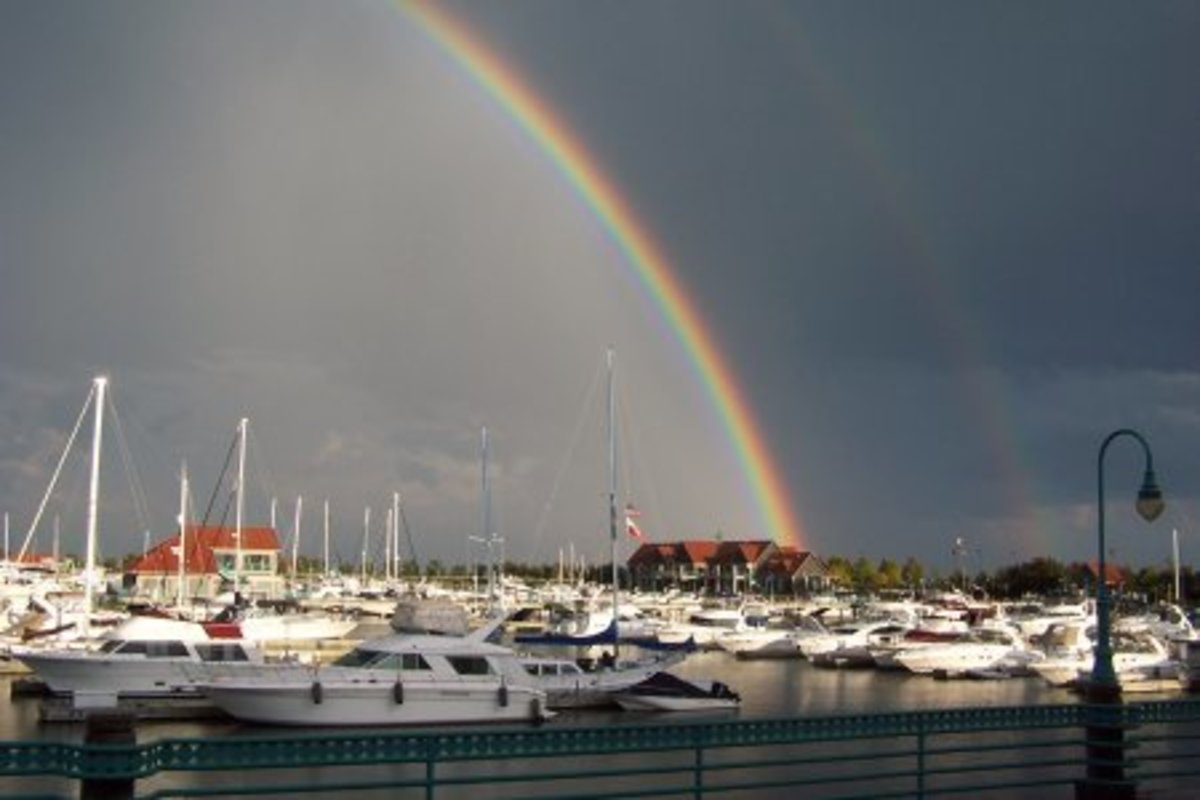 Racine Harbor with a Rainbow