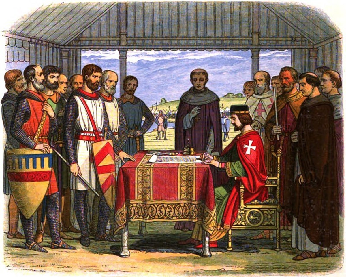 An idealised depiction of King John placing his royal seal on the Magna Carta on 15th June 1215 at Runnymede.