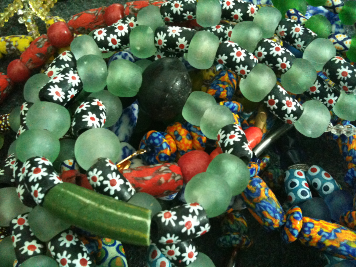 Recycled glass is used to create beautiful beads in of south-eastern Ghana.