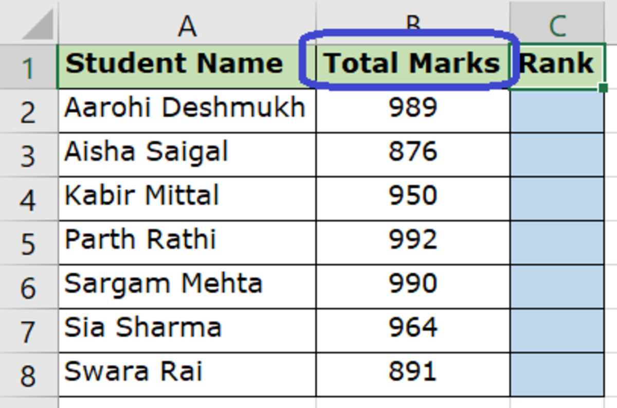 Column to Be Used to Determine the Rank - Total Marks (Column B)
