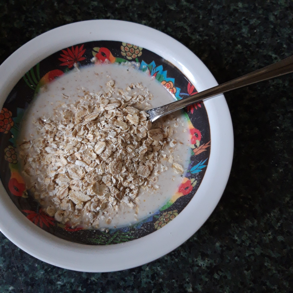 Ground oats mixed with milk, with porridge oats sprinkled on top