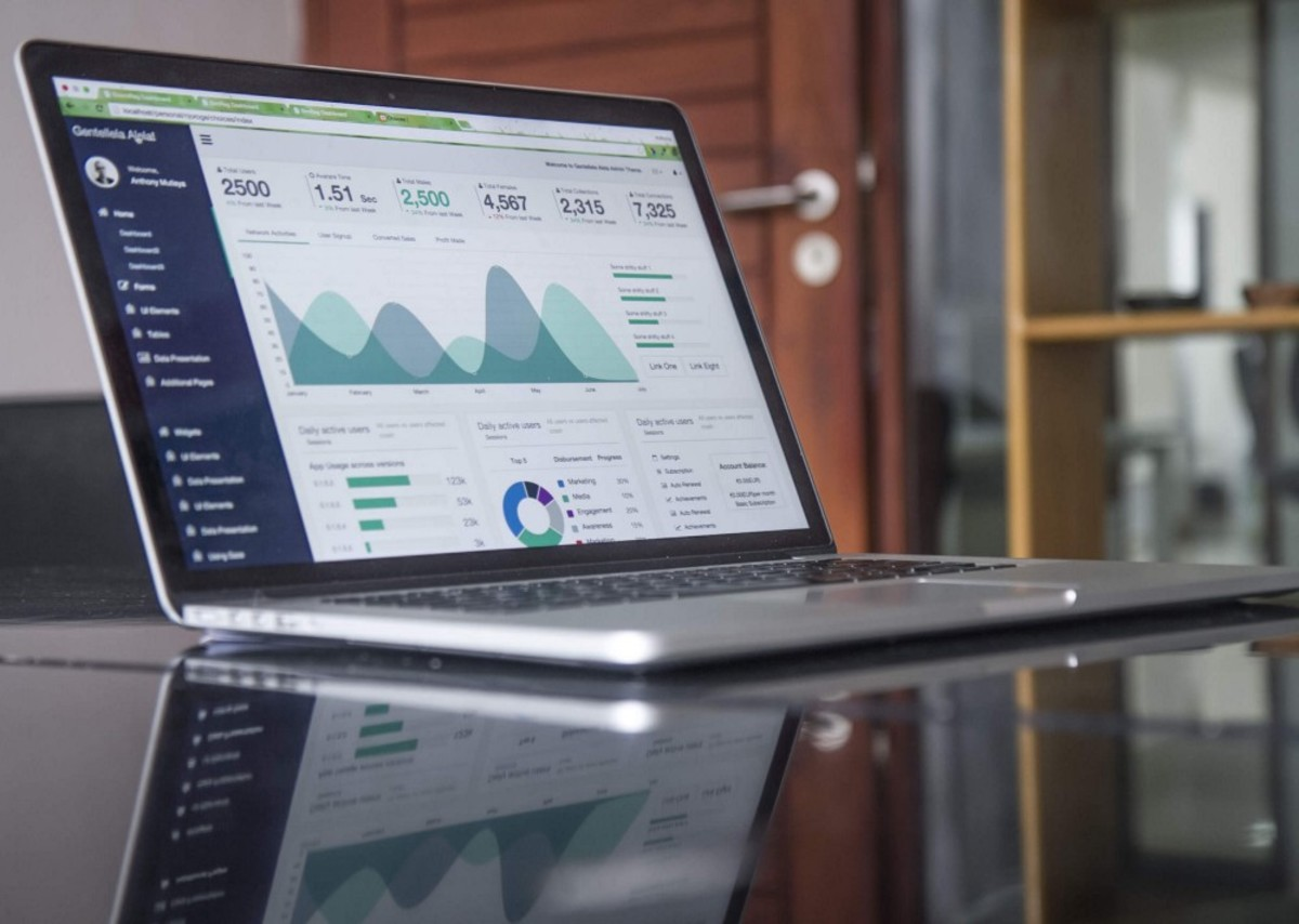 Picture of a laptop showing business analytics