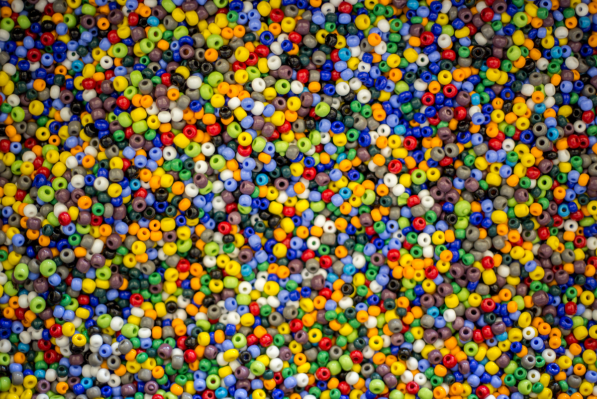 Glass beads vary in size from tiny seed beads to large focals.