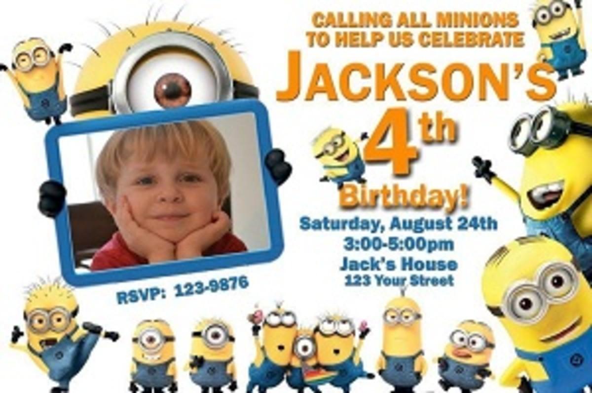 Personalized Minion party invitations