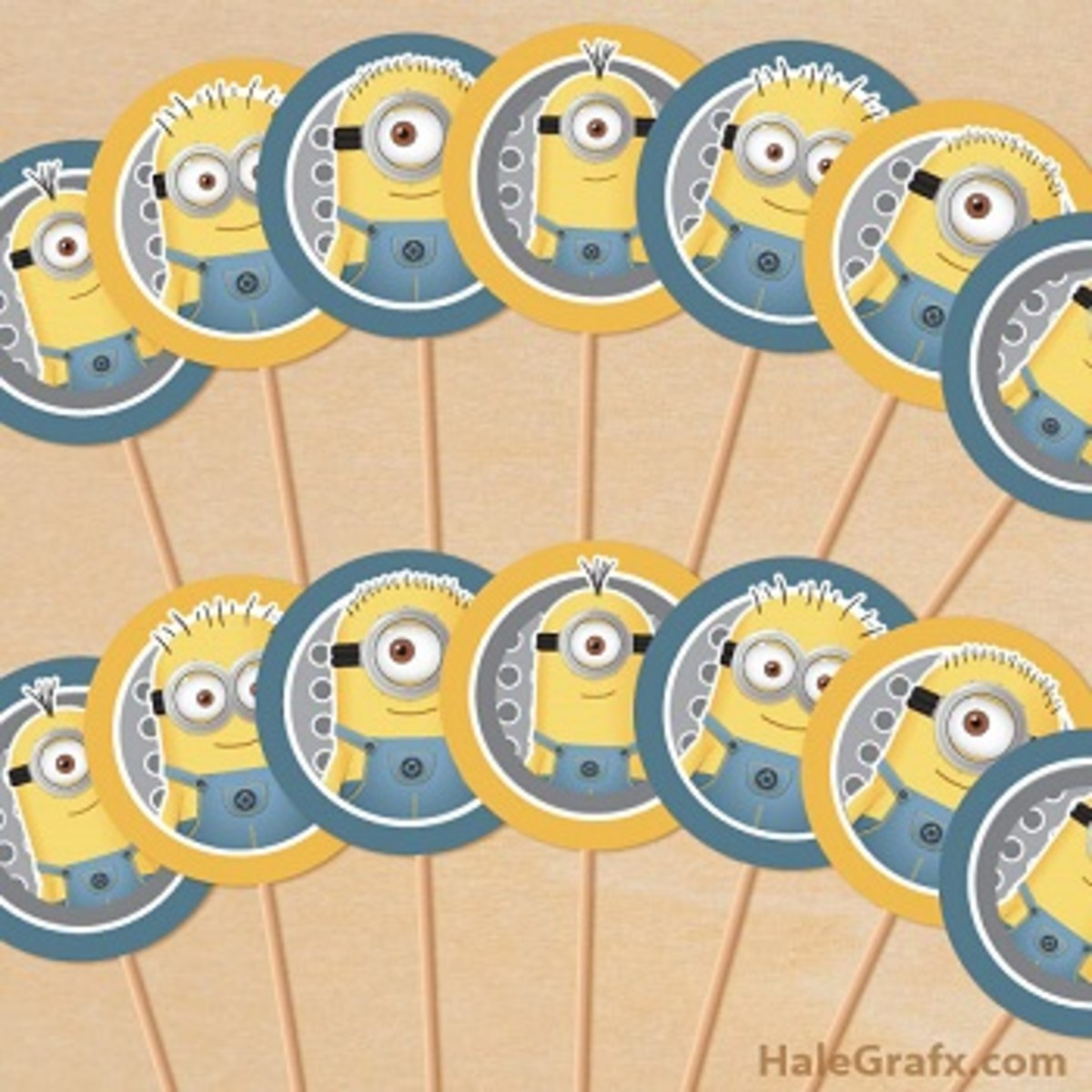 Free Minions Cupcake Toppers