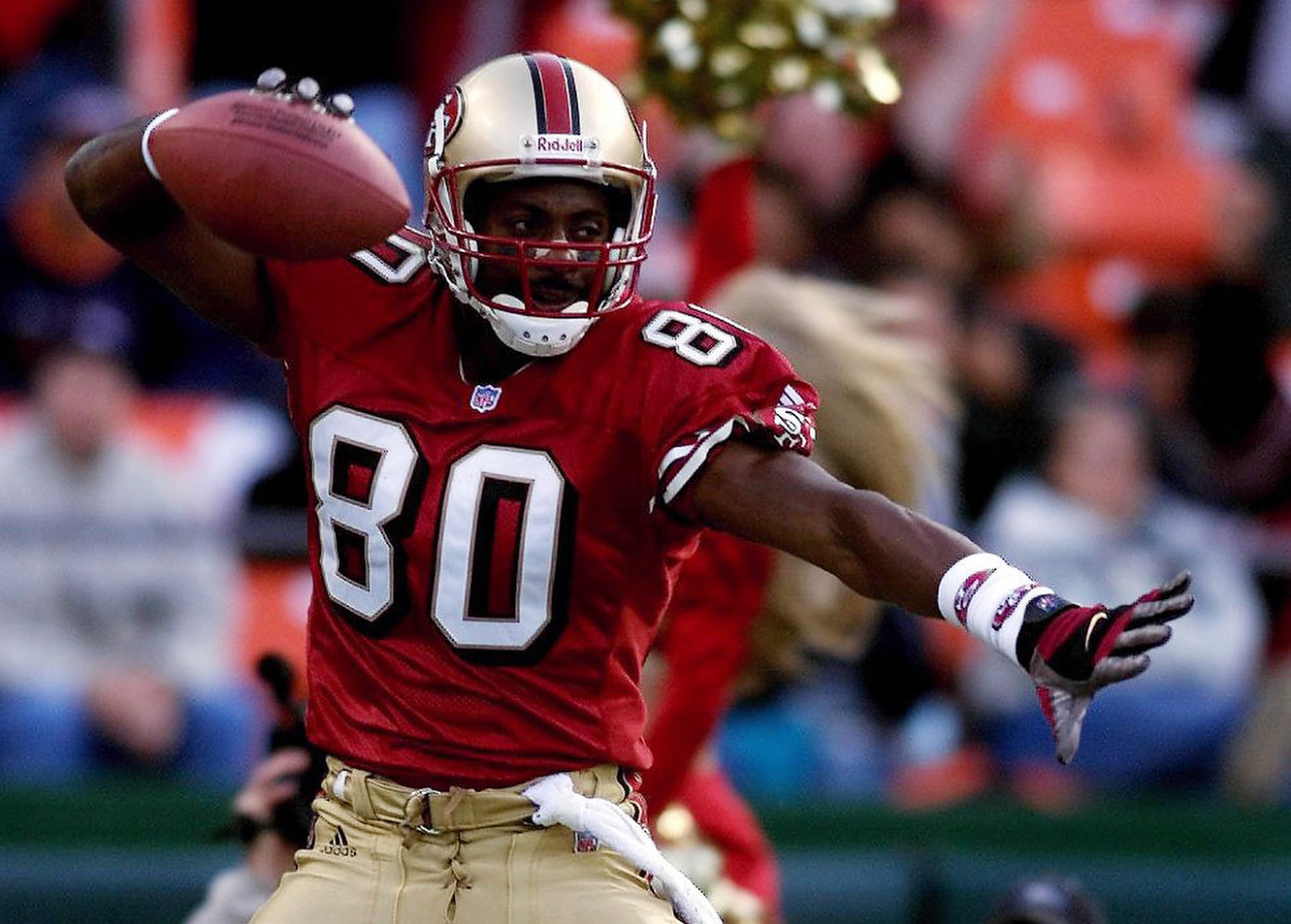 Jerry Rice celebrates during a game.