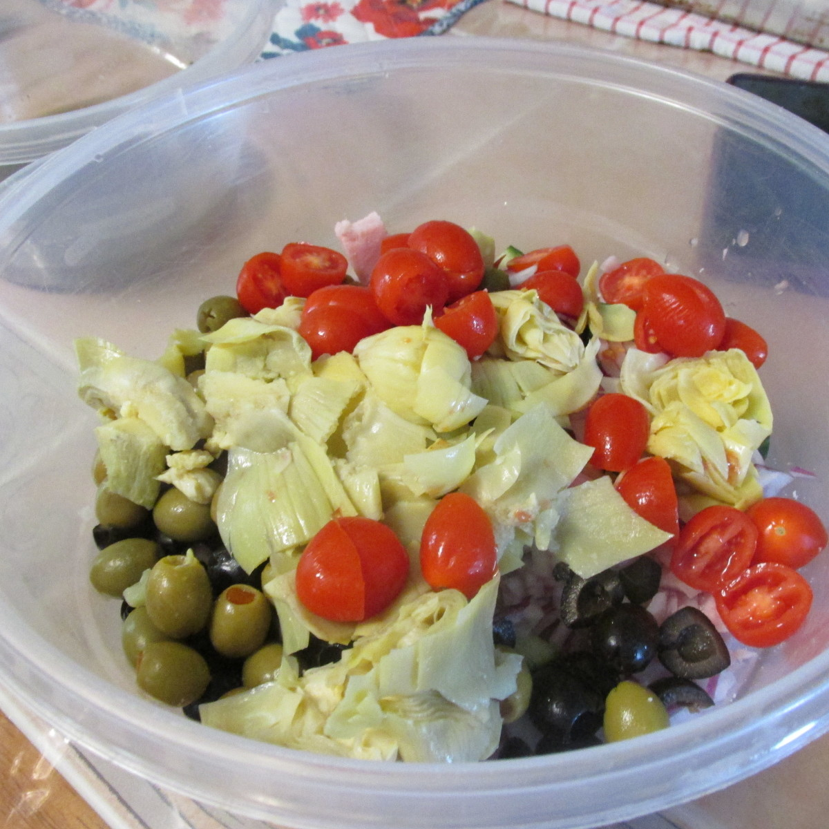 All the salad ingredients before adding vinaigrette