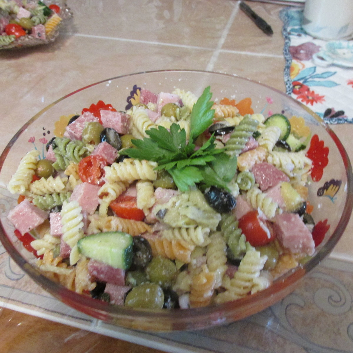 Salad all ready to be eaten.