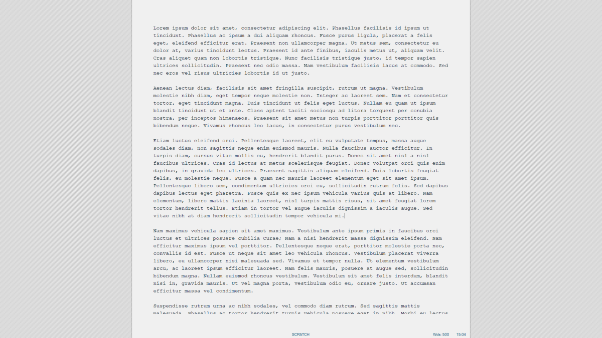"""WriteMonkey's default look. You can't really change much besides the font and the color of the """"paper""""."""