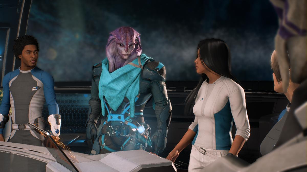 My screenshot of Jaal meeting the crew.