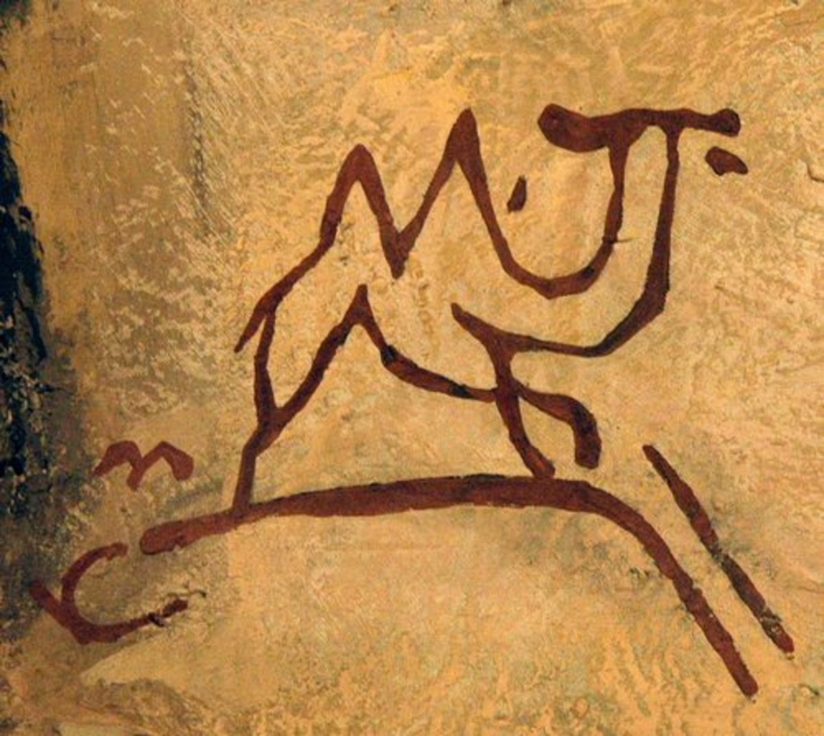 Pre-historic cave image of camel. Displayed in the National Museum of Mongolian History in Ulaan Baatar.