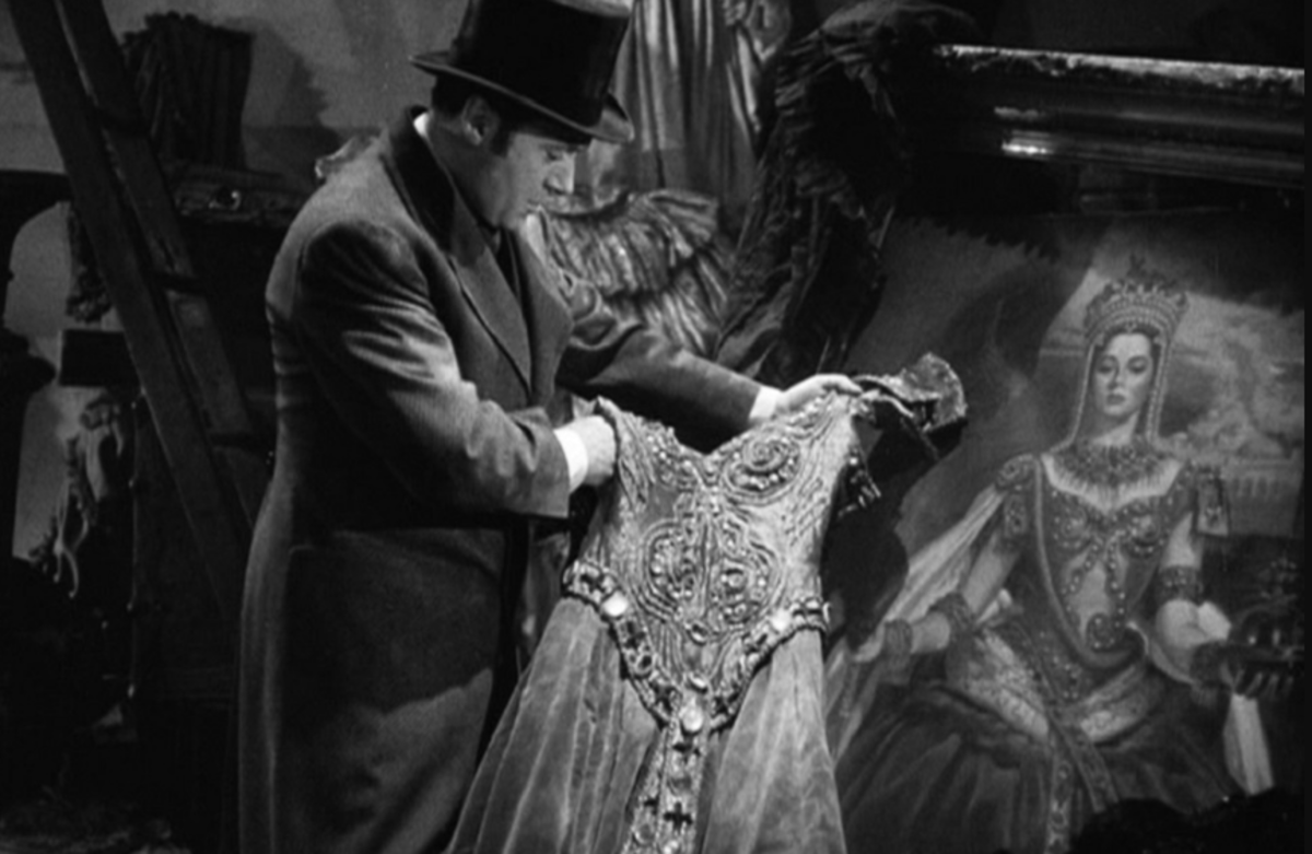 Charles Boyer finding the jewels in this dress in the attic