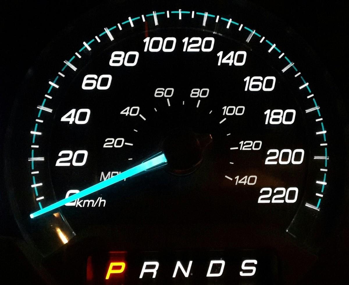 An analog speedometer