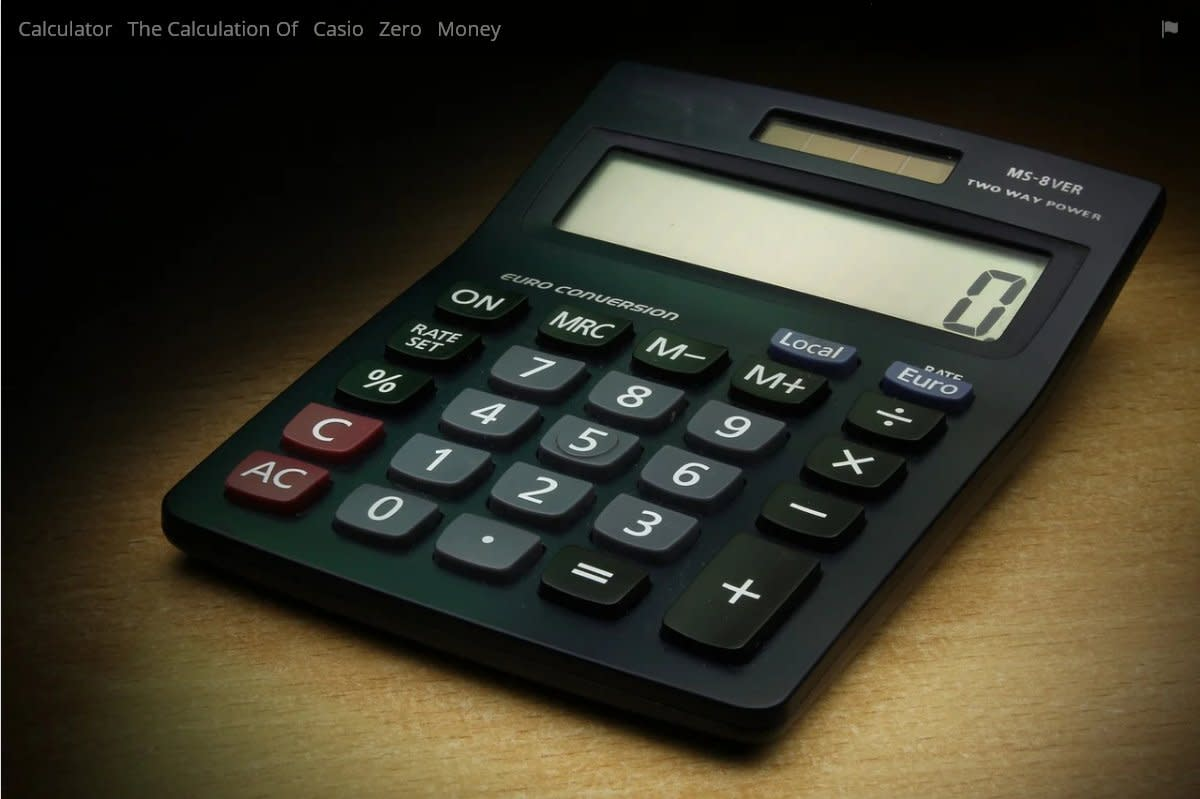 Calculator with LCD display.