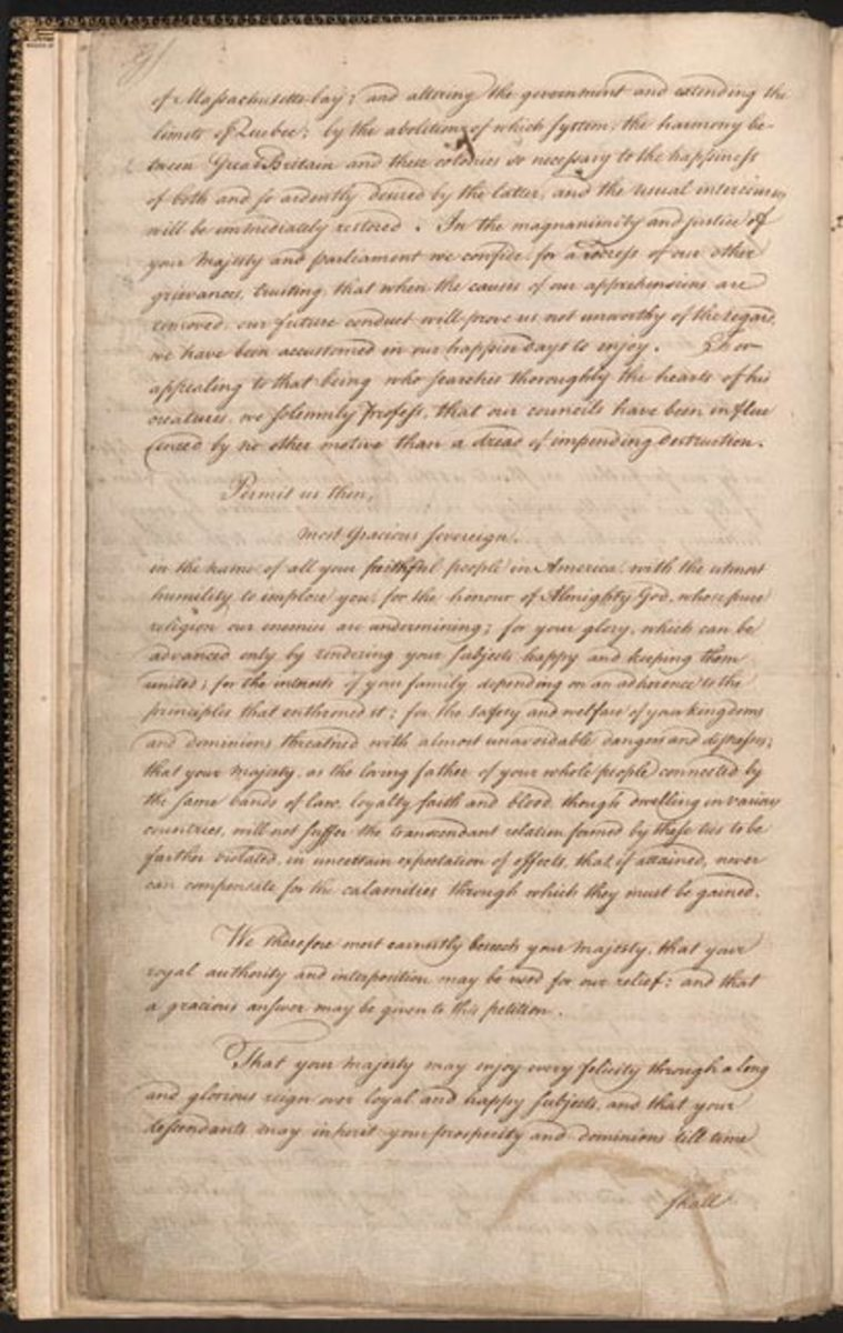 First page of the petition sent to King George III by the First Continental Congress.