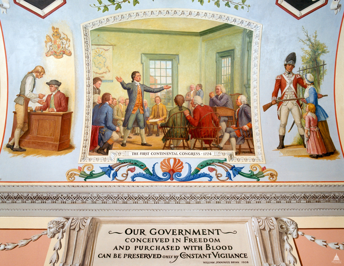 Mural from the U.S. Capitol building. The left painting shows a colonist paying taxes. The center painting shows debate among the delegates during the First Continental Congress. The right painting shows a British solider blocking the path of a woman