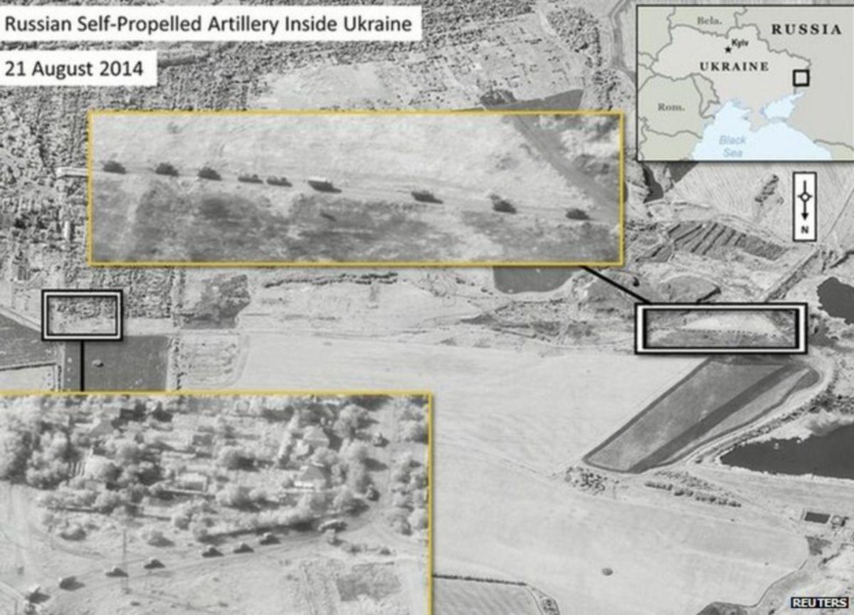 Russian artillery in Ukraine, satellite image