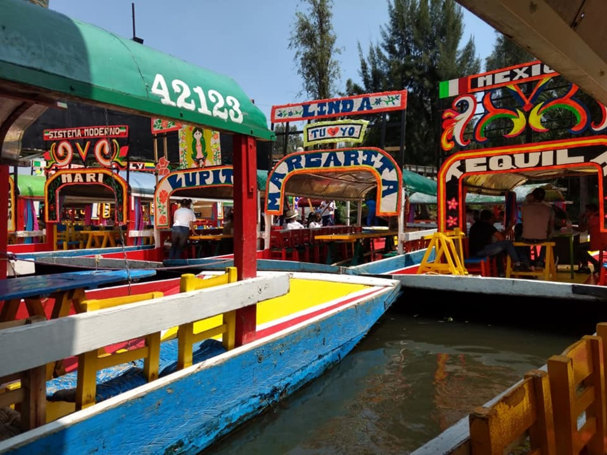 The colorful boats at Xochimilco.