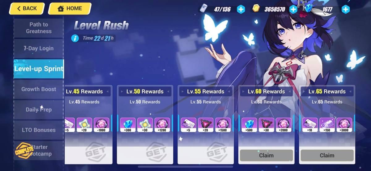 Level-Up Sprint Rewards