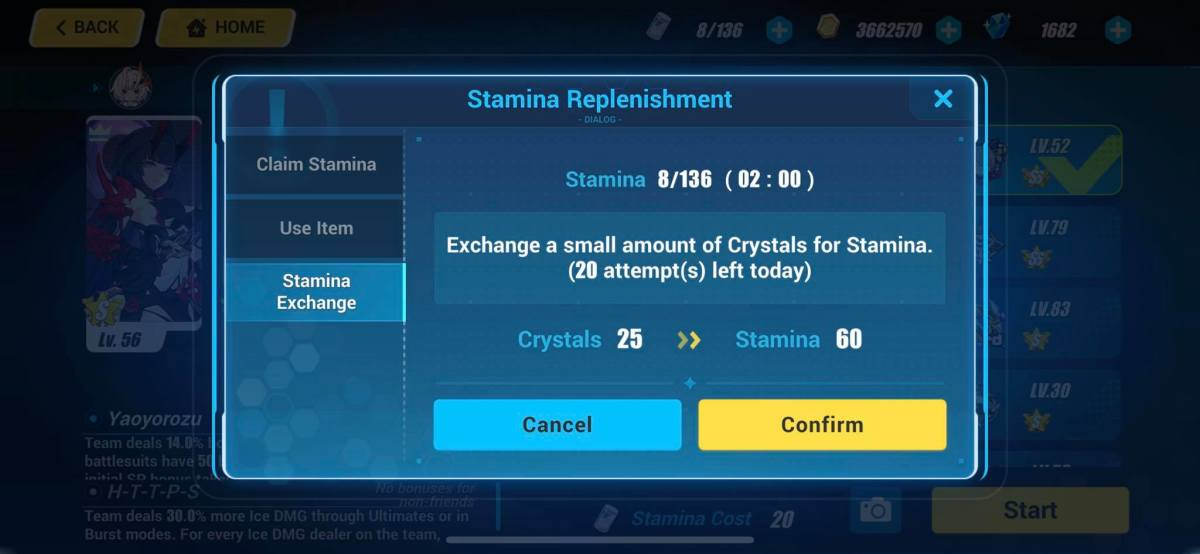 Options to Earn Stamina