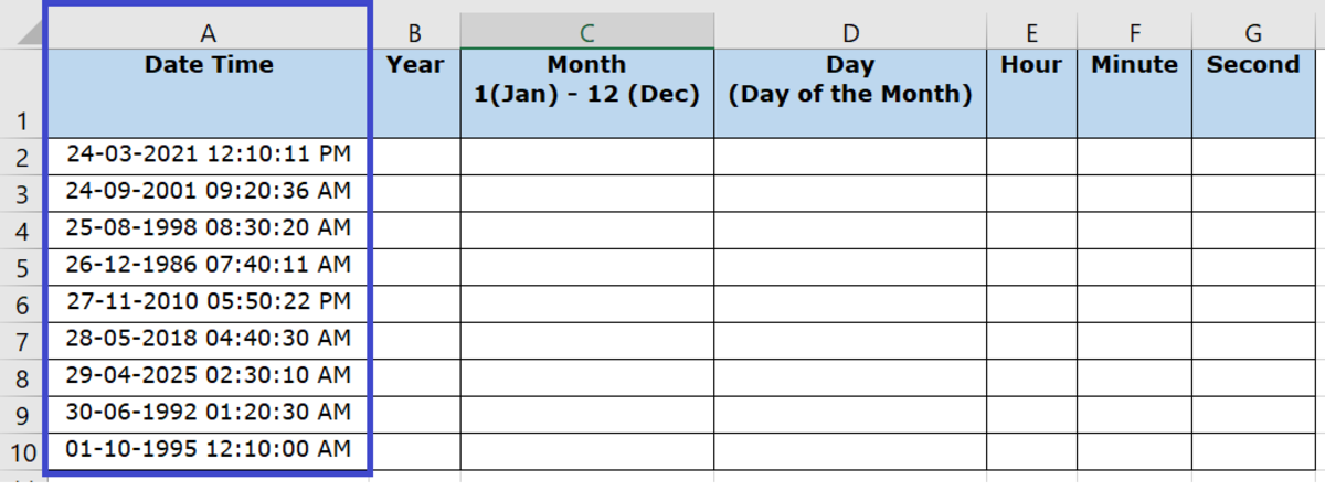 Column A holding the Date Time Values