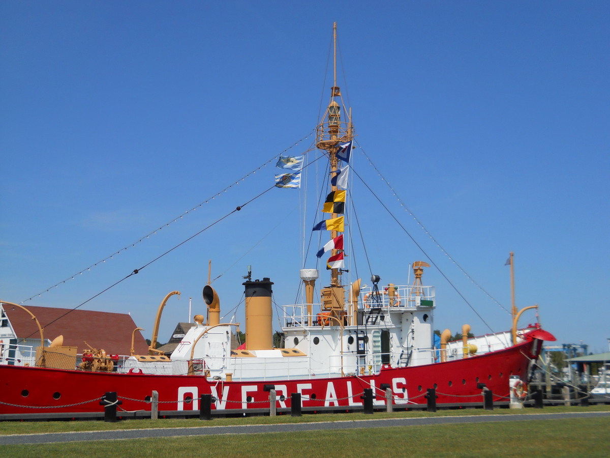 Close-up of the Lightship Overfalls which is one of the last surviving lightships, listed on the National Register of Historic Places.