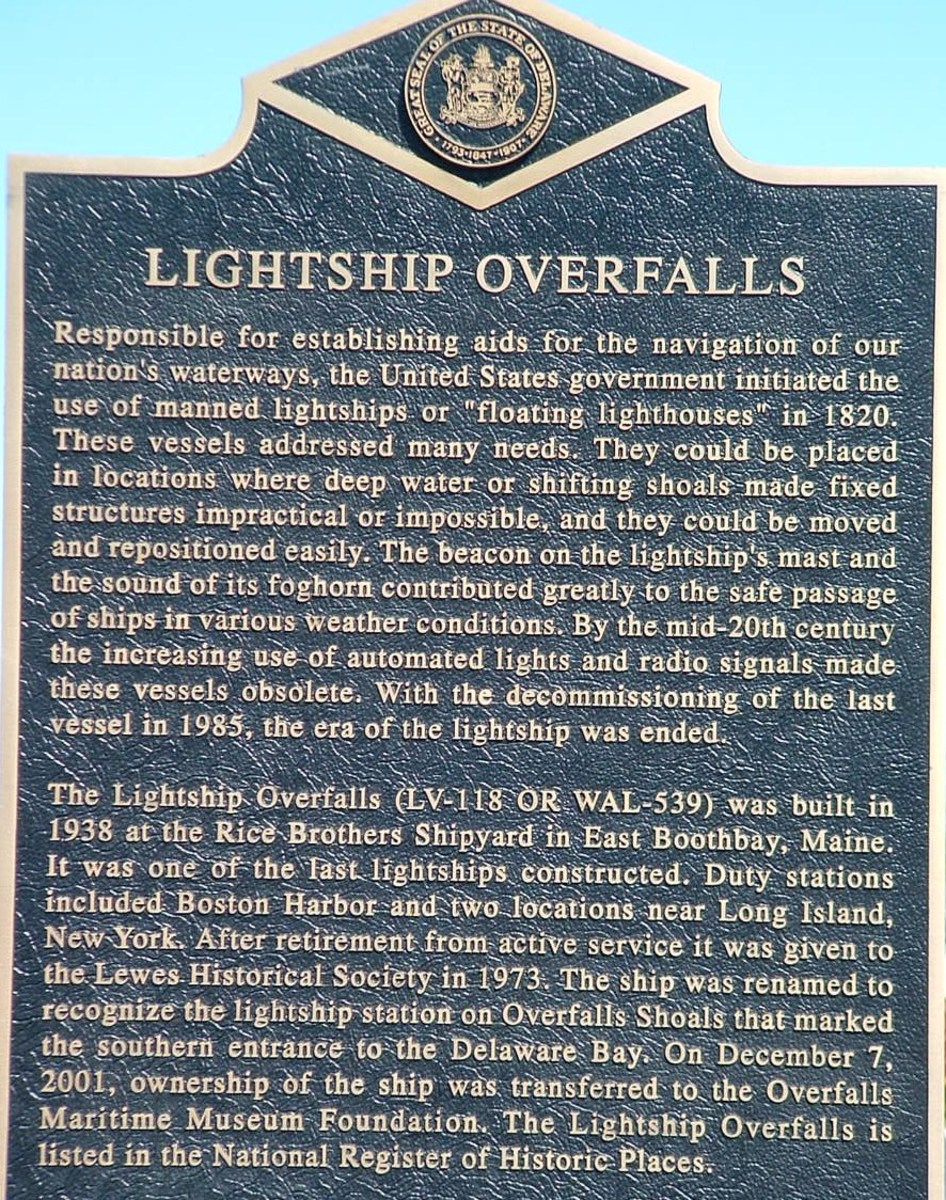 Plaque giving history of Lightship Overfalls.