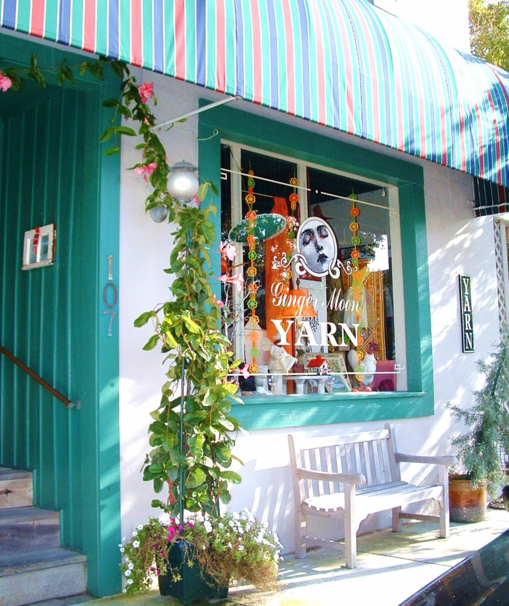 Ginger Moon Fine Yarns & Antiques sells quality yarns & needlepoint; whimsical antiques & jewelry.