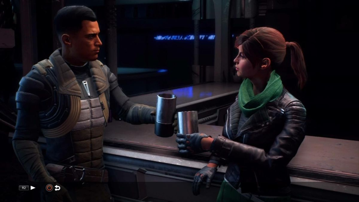 Reyes and Ryder share a drink.