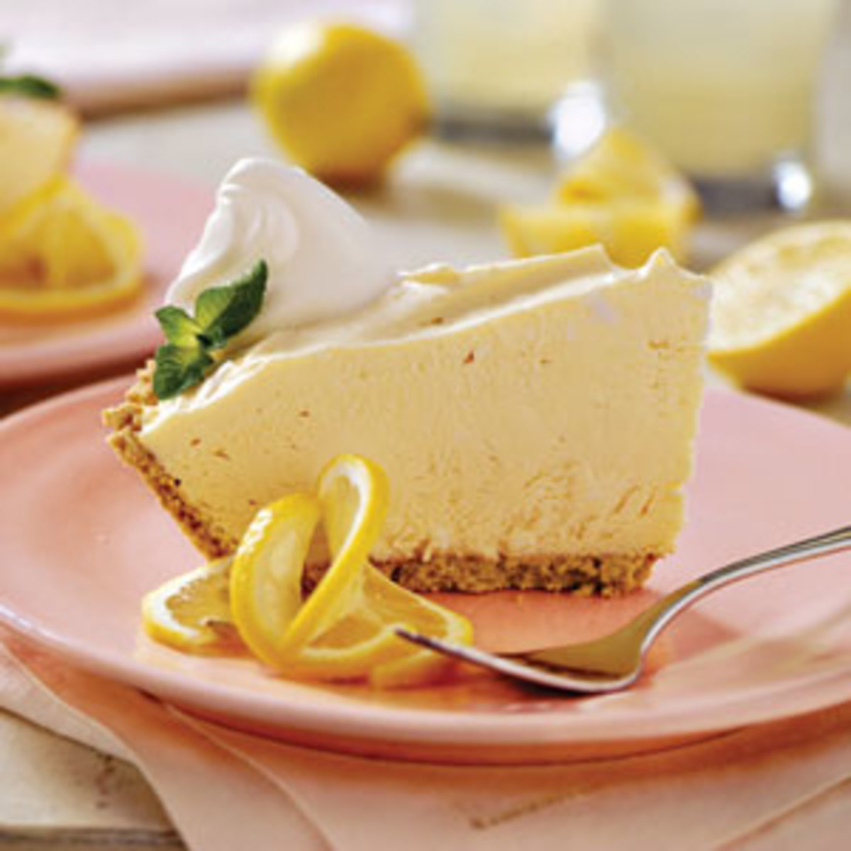 This pink lemonade pie is so tart and delicious. And so easy to make.