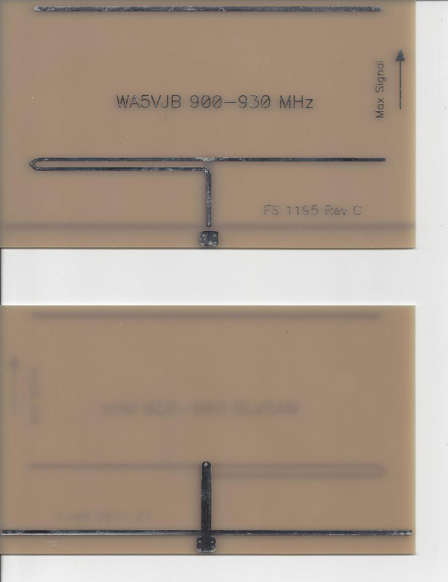 900 MHz Yagi antenna shown front and back