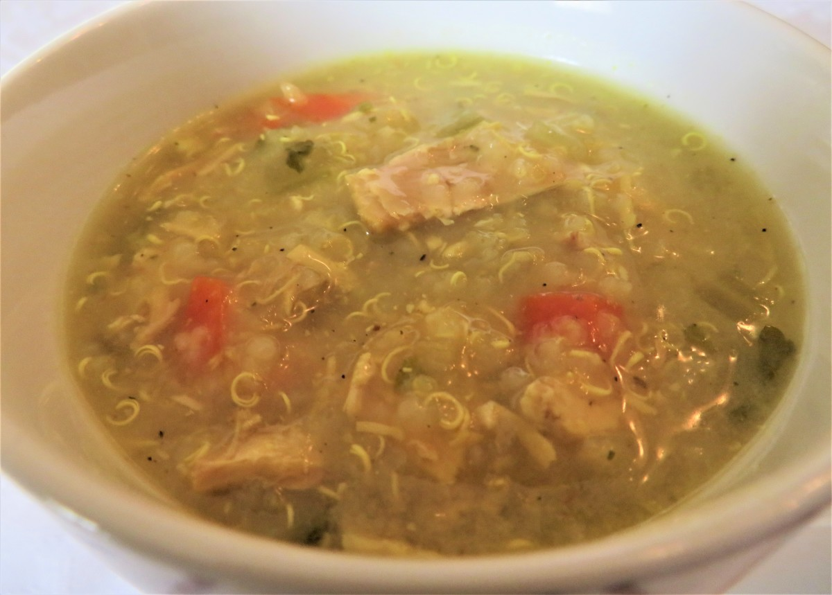 Roasted chicken, vegetable, and quinoa soup