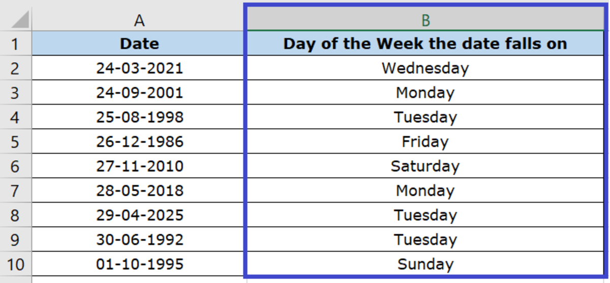 Dates dynamically converted to Days of the Week