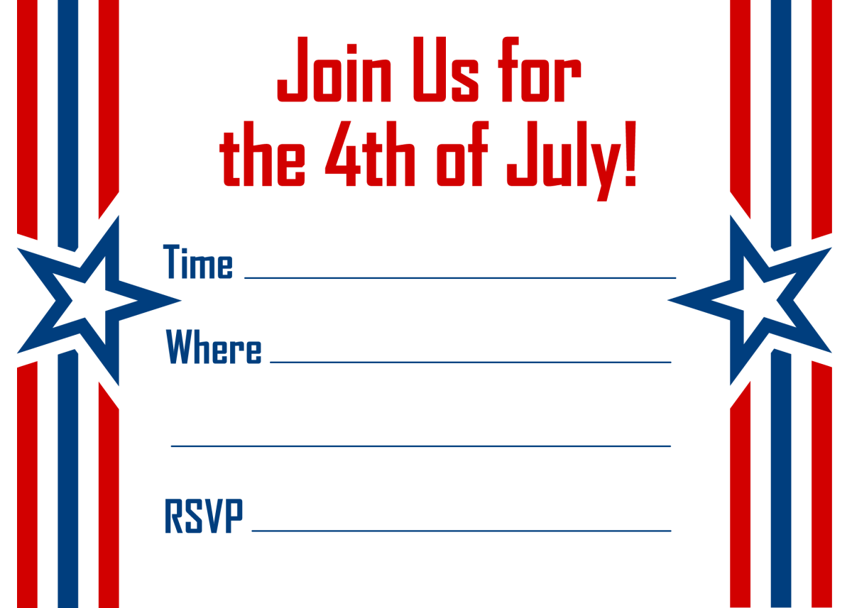 Stars and bars horizontal red, white and blue 4th of July invitation template