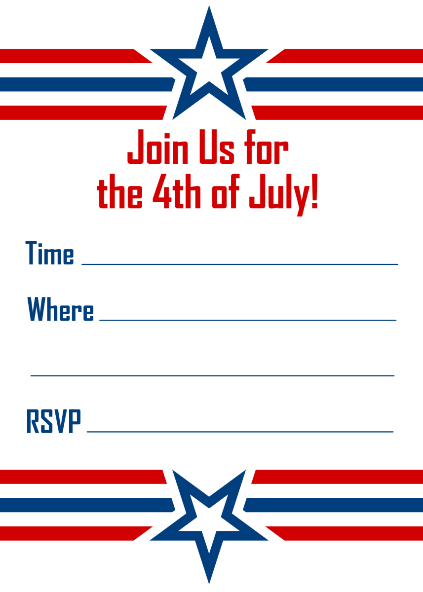 Stars and bars vertical red, white and blue 4th of July invitation