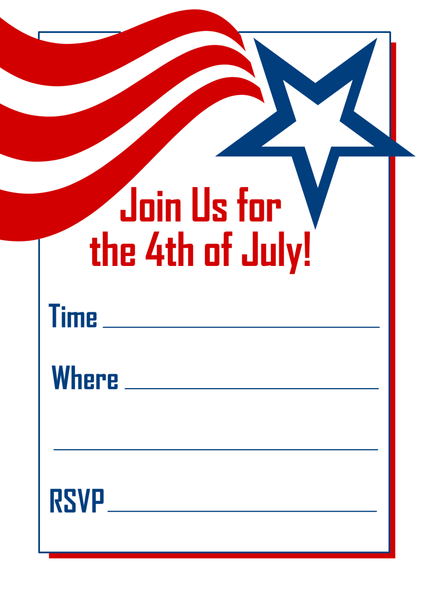 Shooting star vertical 4th of July party invite
